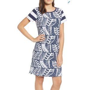 Tommy Bahama Palm Leaf Stripe Cotton T-Shirt Dress